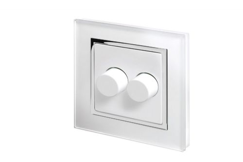RetroTouch 2 Gang 2 Way Dimmer Switch 3-200W LED & Halogen White Glass CT 02060